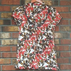 Tops - Red Tan and Brown Floral Top